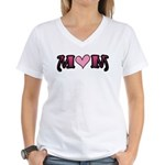 Tattoo Mom Pink Heart Mother's Women's V-Neck T-Sh