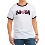 Tattoo Mom Pink Heart Mother's Ringer T