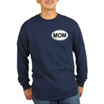 Mom European Oval Mother's Day Long Sleeve Dark T-
