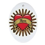 Red Heart Tattoo Mom Mother Oval Ornament