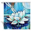 Lotus Dragonfly In Blue Shower Curtain