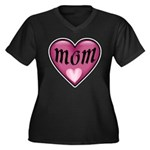 Pink Heart Mom Mother's Love Women's Plus Size V-N