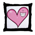 Pink Heart Cartoon Smile Smiley Throw Pillow