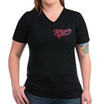 Baseball Style Swoosh Mom Women's V-Neck Dark T-Sh