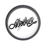 Mother Tattoo Art Text Wall Clock