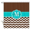 Brown Teal Chevron Personalized Shower Curtain