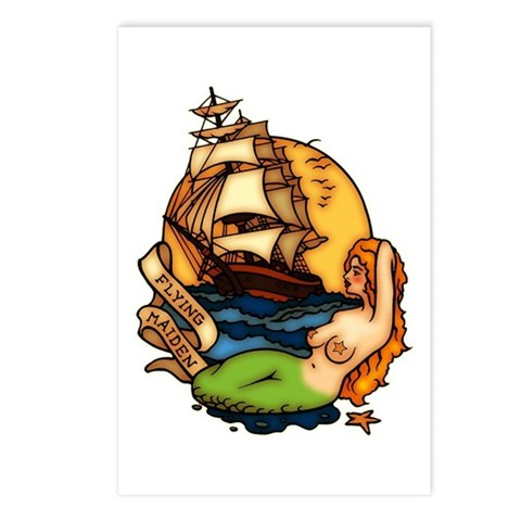 Mermaid n Pirate Ship Tattoo Art Postcards (Packag