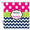 Pink Green Blue Dots Chevron Personalized Shower C