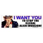 Stop Illegal Alien Invasion Bumper Sticker