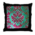 Magenta Damask Throw Pillow