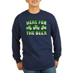 Here for the Beer Shamrock Long Sleeve Dark T-Shir