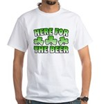 Here for the Beer Shamrock White T-Shirt