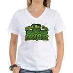 Kiss Me I'm Irish Shamrock Women's V-Neck T-Shirt