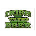 Irish You Were Beer Shamrock Postcards (Package of