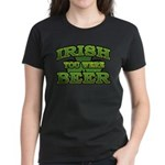 Irish You Were Beer Shamrock Women's Dark T-Shirt