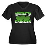 Designated Drinker Women's Plus Size V-Neck Dark T