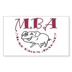 MBA Bacon Pig Rectangle Sticker 10 pk)