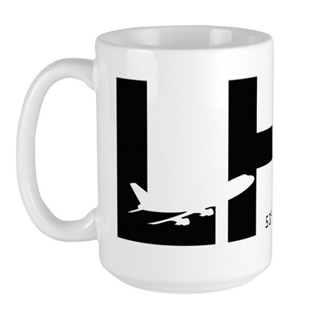 London Airport Code LHR Black Des. Large Mug
