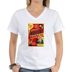 Vintage Reefer Madness Womens V-Neck T-Shirt