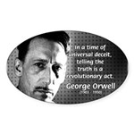Novelist George Orwell Oval Sticker