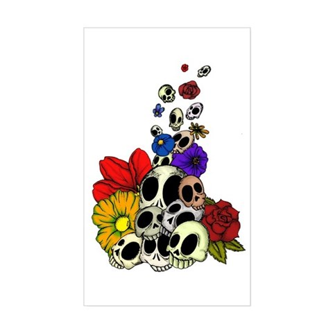 tattoos of skulls and flowers. Skulls amp; Flowers Decal