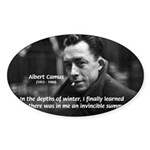 Albert Camus Motivational Oval Sticker