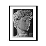 David with Michelangelo Quote Framed Panel Print