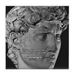 David with Michelangelo Quote Tile Coaster