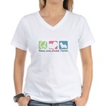 Peace, Love, Norwich Terriers Women's V-Neck T-Shi