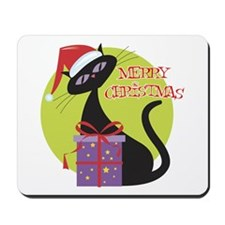 Retro Christmas Cat Mousepad