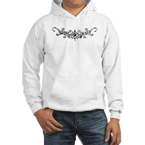 Tribal Gecko Lizards Tattoo Hooded Sweatshirt
