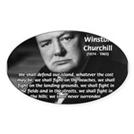 World War 2 Churchill Oval Sticker