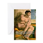 Michelangelo Nude Painting Greeting Cards (Package